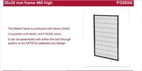 SATECH 960mm high panels data sheet