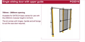 SATECH single sliding door with upper guide data sheet