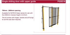 SATECH single sliding door with upper guide data sheet